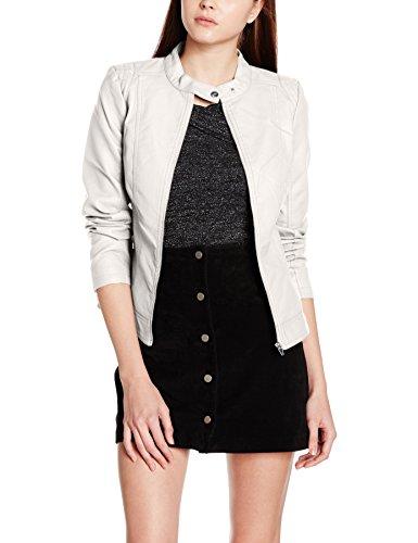 Vila CLOTHES Damen Jacke Viaya Faux Leather Jacket-Noos, Grau (Wind Chime), 40 (Herstellergröße: L)