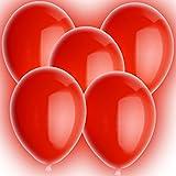 5 rote leuchtende LED Rundballons (leuchten 24-48h!) Ø30cm XL + Geschenkkarte + PORTOFREI mgl. + Helium & Ballongas geeignet. High Quality Premium Ballons vom Luftballonprofi & deutschen Heliumballon Experten. Luftballon Deko und tolles Luftballongeschenk