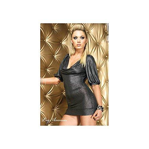Leg Avenue Gunmetal shimmer slinky mini dress M/L, 1 Stück