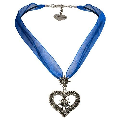 Alpenflüstern Organza-Trachtenkette Strass-Edelweiß-Herz - Damen-Trachtenschmuck mit Trachtenherz, Dirndlkette blau DHK193