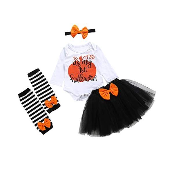 Bebe Niña Halloween 4Pcs Bebé Niños Niñas Ropa Mono de Manga Corta Mameluco Calabaza Impresión Camiseta + Tutu Falda… 1