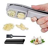 Garlic Press and Garlic Slicer,Kitchen Garlic Mincer and Crusher with Garlic Rocker