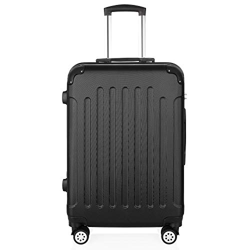 PRASACCO Reisekoffer Handgepäck Für Flug Hartschalen Koffer Trolley Ultraleicht ABS Anti-Kratzer Erweiterbar 4 Rollen (Matt Schwarz, 76x48x30cm)