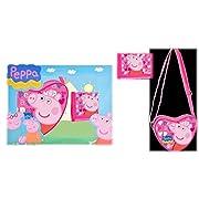 SET REGALO BIMBA PEPPA PIG ORIGINALE TRACOLLA CUORE+PORTAFOGLIO MATERIALE: RASO DIMENSIONI: 16X13X5 (BORSA); 12X9(PORTAFOGLIO) COLORE: CAMPIONE (FOTO)