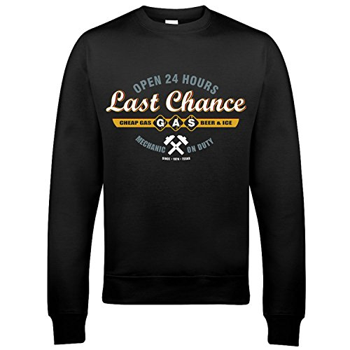 9270 Sawyers Last Chance Gasoline Uomo Sweatshirt The Texas Chainsaw Massacre Leatherface Saw Wrong Turn(XX-Large,Black)