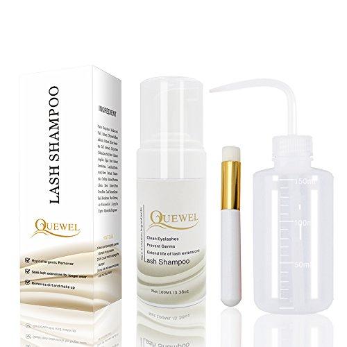 Quewel Lash Cleanser -Foaming 100 ml cils shampooing/lavage des cils Extension Safe Safe pour une utilisation quotidienne et est sans huile avec une bouteille de rinçage et une brosse douce