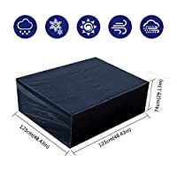 Fittolly Garden Furniture Covers Waterproof Rectangular Table Covers for Protecting Table and Furniture in Outdoor (123x123x74cm/ 48.4x48.4x29.1 in)