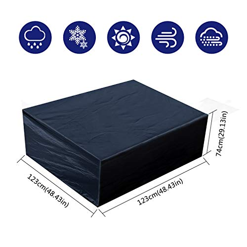Fittolly Funda para Muebles de Jardín,Oxford Tela Rectangular Impermeable Poliéster, para Mesa y Silla de Jardín (123x123x74cm/ 48,4x48,4x29,1 in)