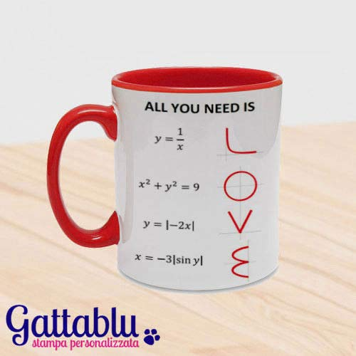 Tazza mug 11oz con interno e manico colorati all you need is love, formule matematiche ed equazioni divertenti, idea regalo per lui e lei san valentino