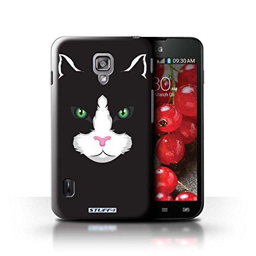 Kobalt® Imprimé Etui / Coque pour LG Optimus L7 II Dual / Chat noir conception / Série Museaux Chat noir