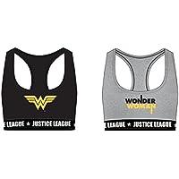 Justice League Sujetadores Deportivos de Algodón para Niñas Superman Wonder Woman
