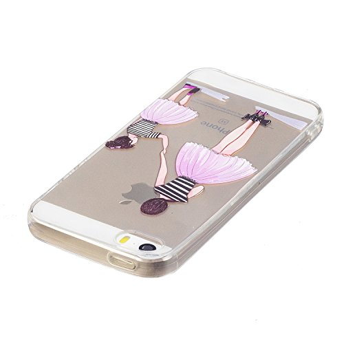 iPhone 5S / iPhone SE Hülle, Voguecase Silikon Schutzhülle / Case / Cover / Hülle / TPU Gel Skin für Apple iPhone 5 5G 5S SE(Aquarell 12) + Gratis Universal Eingabestift Mutter und Tochter