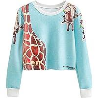 Bellelove ❤ Damen Herbst Print Giraffe Casual Sweatshirt, Frauen Casual Langarm Top Mittelmeer Print Giraffe Top Sweatshirt