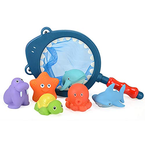 Juego de Juguetes de baño para niños, Sonido exprimido y Juguetes de Chorro de Animales con Red de Pesca para niños Bañera o Piscina (Red de Pesca de 1pc y Juguetes de Animales flotantes 6pcs)
