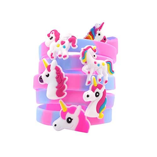 STOBOK 6 Unids Unicornio Pulseras de Silicona Pulseras Color del Arco Iris Unicorn Cosplay Pulseras para la Fiesta de cumpleaños Suministros Decoración (patrón Aleatorio)