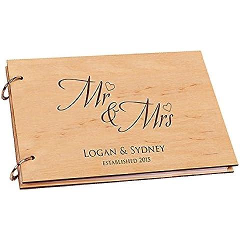 Libro de visitas del compromiso / boda de Purposefull - cubierta de madera con diseño modelado - 30 páginas - No 16