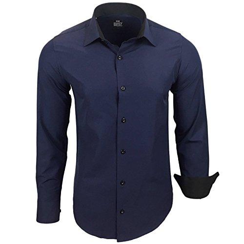 Rusty Neal Herren Kontrast Hemd Business Hochzeit Freizeit Slim Fit S bis 6XL Navy