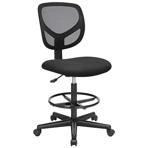 SONGMICS Bürostuhl, Ergonomischer Arbeitshocker, Sitzhöhe 51,5-71,5 cm, Hoher Arbeitsstuhl mit verstellbare Fußring, Belastbarkeit 120 kg, Schwarz OBN15BK