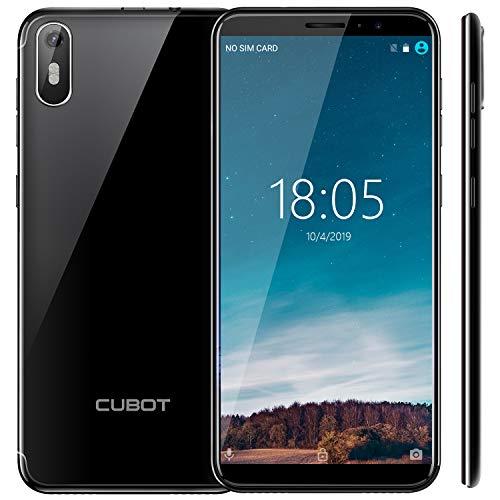 CUBOT J5 2019 Android 9.0 Smartphone Libre 3G 5.5' 18:9 Full-Screen Quad-Core 2GB RAM 16GB ROM Dual SIM Cámara 8Mp Detección de Gravedad y GPS 2800mAh WiFi Bluetooth Ranular de Tarjeta TF Negro