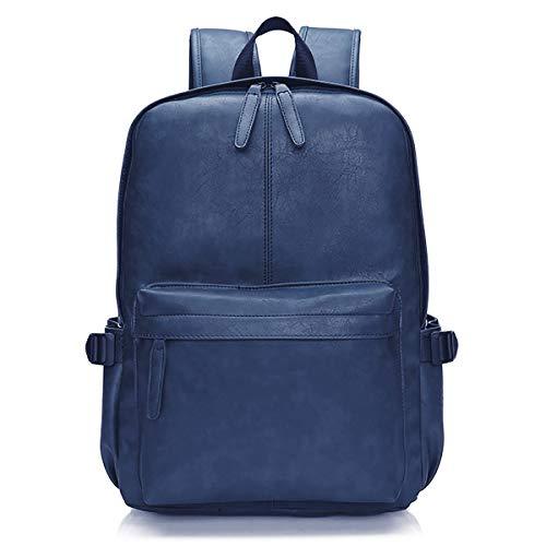 Viaggi Zaino Borsa a Tracolla, OURBAG Zaino in Pelle PU Esterni Scuola Zaino fit 15.6' Laptop Backpack per Uomo e Donna (Blu)