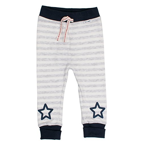 SALT AND PEPPER Baby-Jungen Hose NB Trousers Bear Stripe, Grau (Light Grey Melange 201), 68