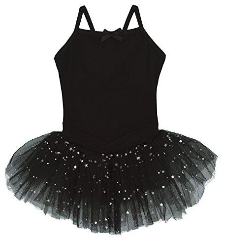 Dancina Mädchen Ballettkleid aus Baumwolle mit Tüllrock 128/134 Schwarz (Danskin Mädchen Gymnastik Trikot)