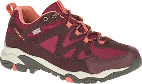 Merrell Women Tahr Bolt Waterproof Low Rise Hiking Shoes, Multicolor (Huckleberry/Coral), 6...