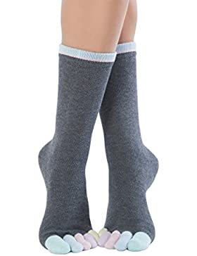 Knitido Rainbows   Wadenlange Zehensocken mit bunten Zehen, aus 95% Baumwolle, für Damen und Herren