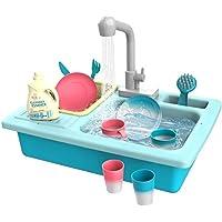 العاب حوض المطبخ متغير اللون من سوفام، العاب المطبخ ولعب الادوار بغسالة صحون كهربائية وحوض لعب بمياه جارية للاطفال للاولاد والبنات الصغار