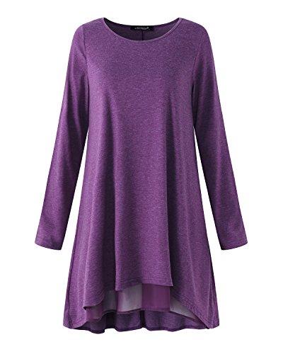ACHIOOWA Femme Casual Lâche Tunique Col Rond Manches Longues Oversize Shirt Mini Robe Violet