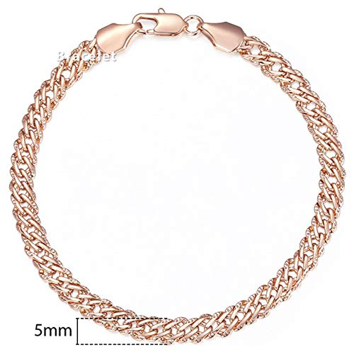 Baostic Armschmuck Personalized Bracelets for Women Men 585 Rose Gold Curb Snail Link Chain Woman Bracelets Hot Party Jewelry Gifts 18Cm-23Cm GBB1 5mm GB428 8inch Alte Rose Fine China