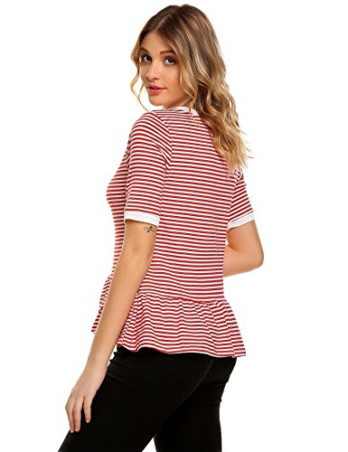 Chigant Damen Gestreifte T-Shirt Top Runhals Kurzarm Streifen Shirt mit Volantsaum Rot