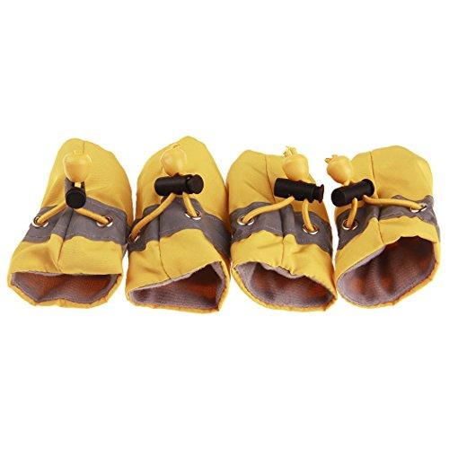 VENI MASEE Welpen weiche Schuhe Kleinkind rutschfeste PET Schuh Set Regen Stiefel Foot Ärmel Paw - Stiefel Regen Kleinkind-gelb