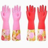 Hilai Romote-Spültechnik Handschuhe, Anti-Rutsch-Haushalt Küche Reinigung Gummihandschuhe mit Futter für Damen (2-Pack)