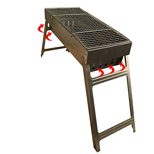 LJJY Tragbare kohleofen im freien Faltbare holzkohlegrill 3-5 Personen Hause grillofen tragbare kostenlose Installation Grill (45,5 * 20 * 37)