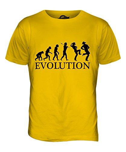 CandyMix Line Dance Evoluzione Umana T-Shirt da Uomo Maglietta Giallo Scuro