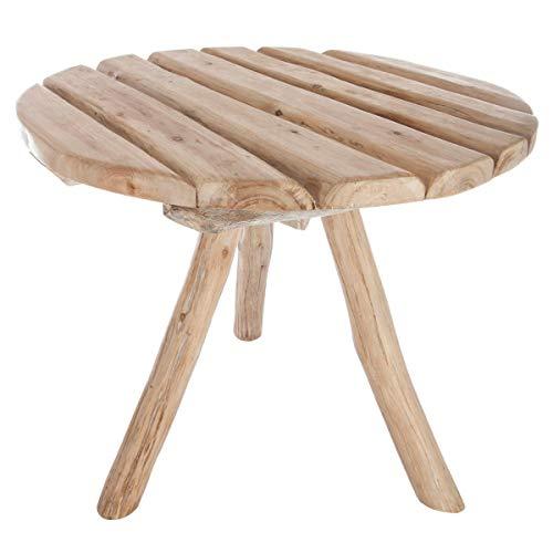 Atmosphera Table Basse Ronde en CHÊNE Robuste - Esprit Nature - Coloris Bois Patiné