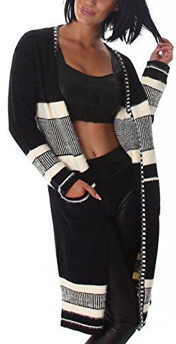 Voyelles Damen Wellness Cardigan Feinstrick-Jacke Umhang Stoff-Mantel mit Streifen-, Linien- und Kästchenmusterung Black