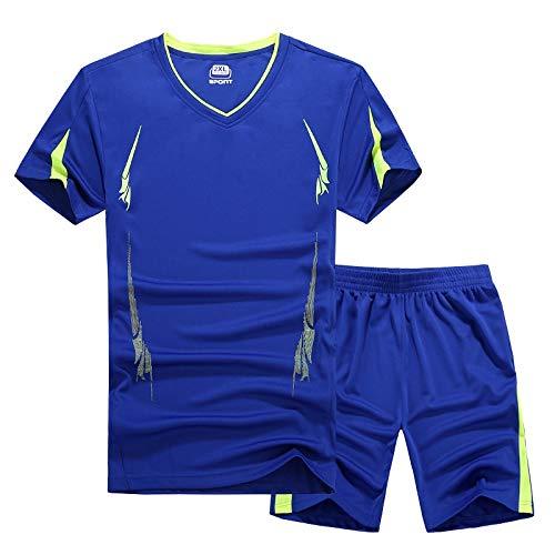 RMJAI Männer Trainingsanzüge Sommer Schnell Trocknend Sporting Anzug Set Männer Atmungsaktiv Lässige T-Shirts + Shorts Männer Sets Plus Größe M-5XL (Farbe : Blau, größe : ()