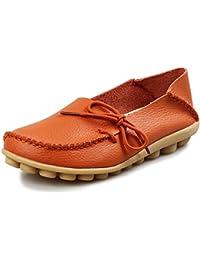 CCZZ Damen Mokassins Leder Casual Halbschuhe Slipper Freizeit Flache Sommer Schuhe  Orange