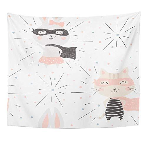 Kostüm Katze Coole Kind - Wandteppich Polyester Stoff drucken Home Decor Kitty und Bunny niedlichen Baby süße Katze Kaninchen lustige Kostüm Maske Cape Kind cool Wandbehang Tapisserie für Wohnzimmer Schlafzimmer Schlafsaal