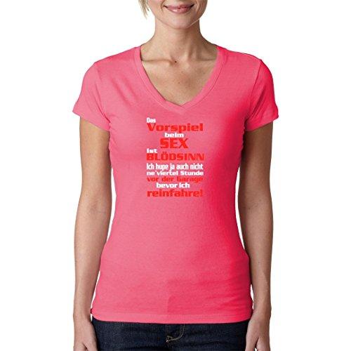 Fun Sprüche Girlie V-Neck Shirt - Vorspiel Sex Spruch by Im-Shirt Light-Pink