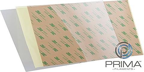 PrimaFilaments Feuille en polyétherimide (PEI) avec surface d'impression Avec adhésif 3M 468MP, 254x165mm - 0,8mm, 1