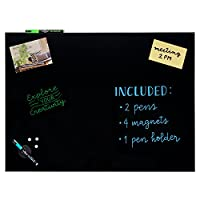 Stationery Island Magnetic Glass Board - 45x60cm Black. Wipeable Memo Board with Chalk Pens, Pen Holder, Eraser and Magnets. for Notices & Reminders, Presentations & Displays and Meal Planning