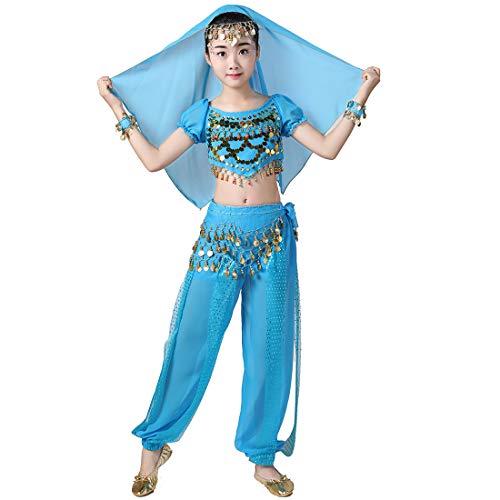 Magogo Mädchen Bauchtanz Performance Kostüm 6 Stück Kit, Shiny Party Fasching Karneval Outfit Kinder arabischen Prinzessin Indian Dance Kleidung Anzug (XL, Hellblau)