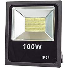 Faro LED LineteckLED, 100W, profesional y potente, para exteriores, SMD LED IP66, luz blanca fría, 6000K