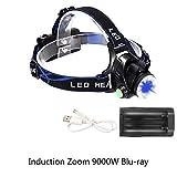 ZSAIMD Fari di ricarica a LED Fari di guida Caccia a lungo raggio Proiettori Luci di campeggio Fari, Fari con luce USB Ricaricabile, Torcia luminosa per campeggio, Ciclismo, Sicurezza esterna