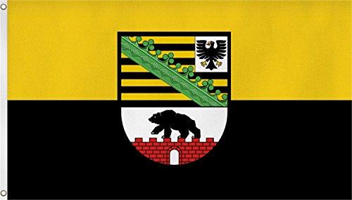 Qualitäts Fahne Flagge Sachsen-Anhalt 90 x 150 cm mit verstärktem Hissband