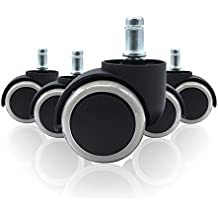 WINTEX ruedas de sillas de oficina (5 piezas) para suelos duros 11 x 48 mm | ruedas para suelo duro, ruedas para sillas giratorias, ruedas de repuesto para sillas de oficina de suelo duro