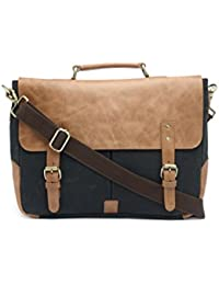 The House Of Tara Leather And Canvas Office/Laptop Bag (Tan-Raven Black)